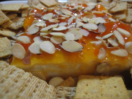 easy cream cheese, apricot, and nut appetizer