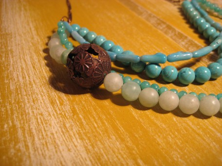 4-strand Blue Bead Necklace