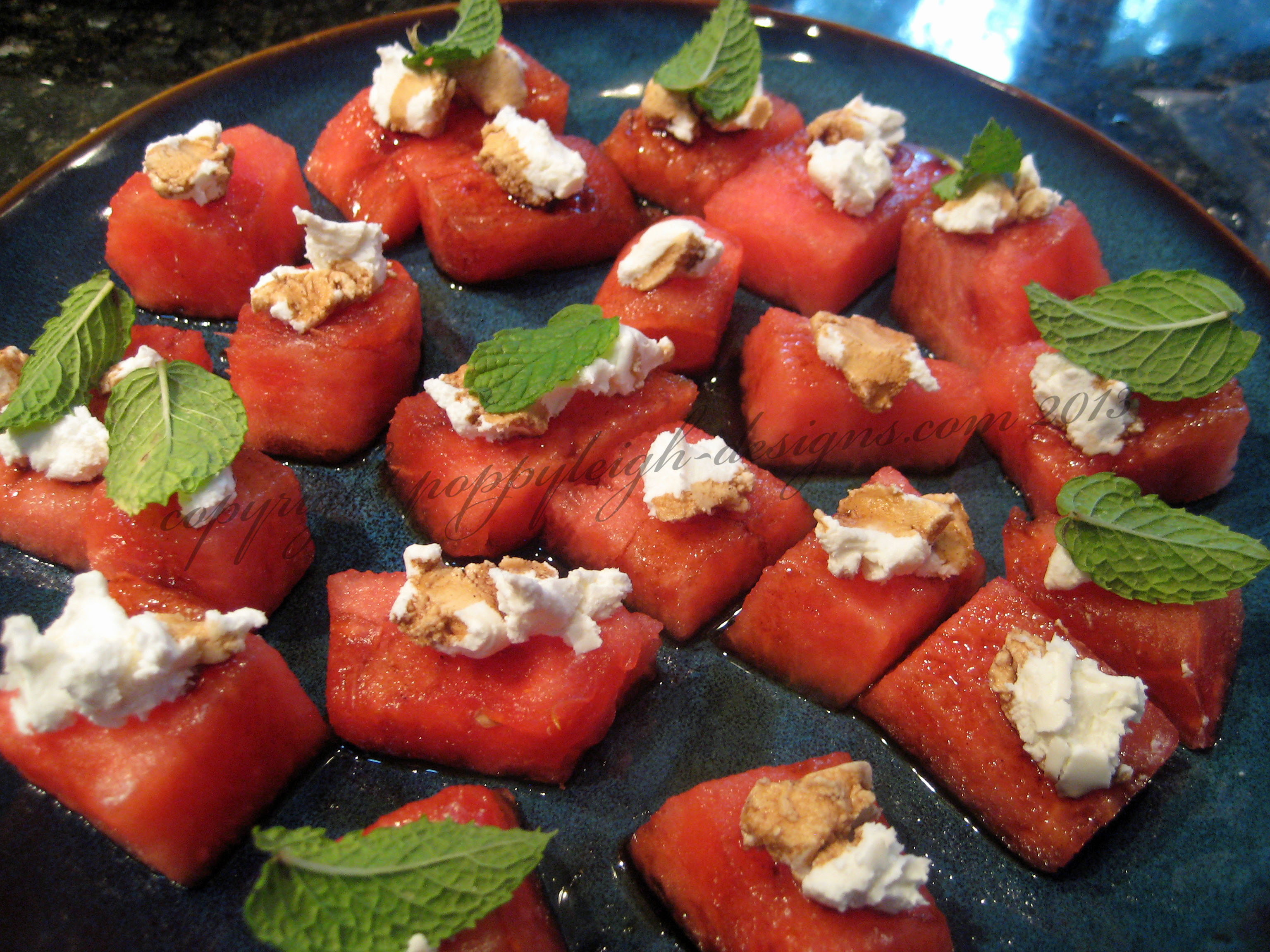 Watermelon Mint Cheese Bites Recipe — Dishmaps
